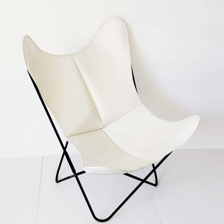 Fauteuil AA Butterfly cuir blanc