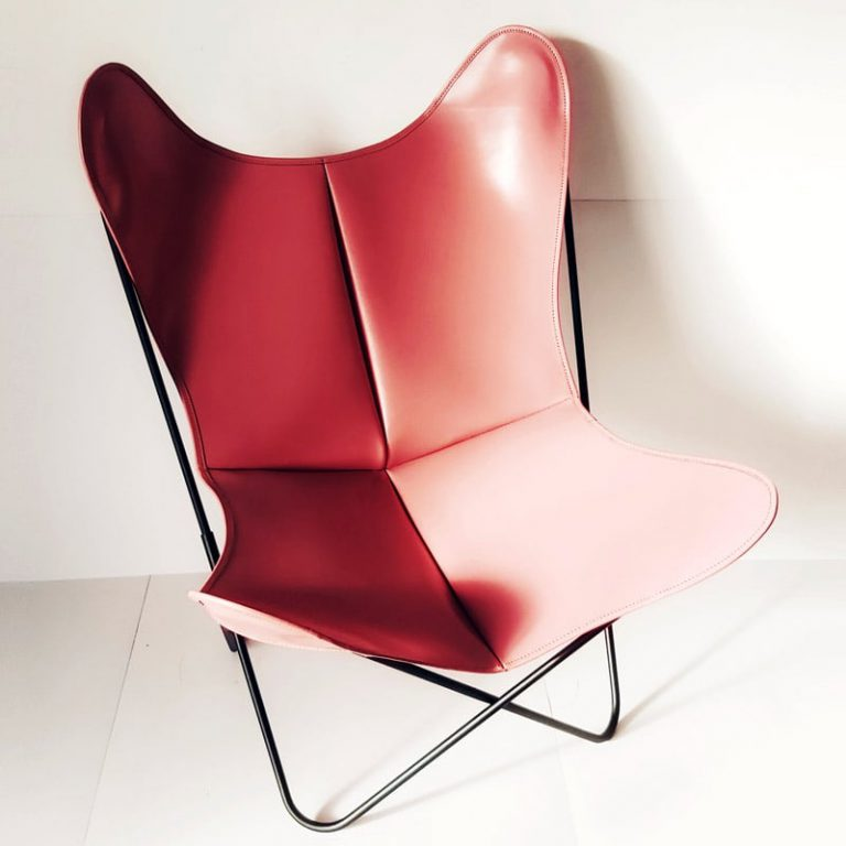 Fauteuil AA Butterfly cuir vieux rose