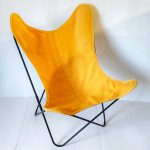 Fauteuil AA Butterfly toile bouton d'or