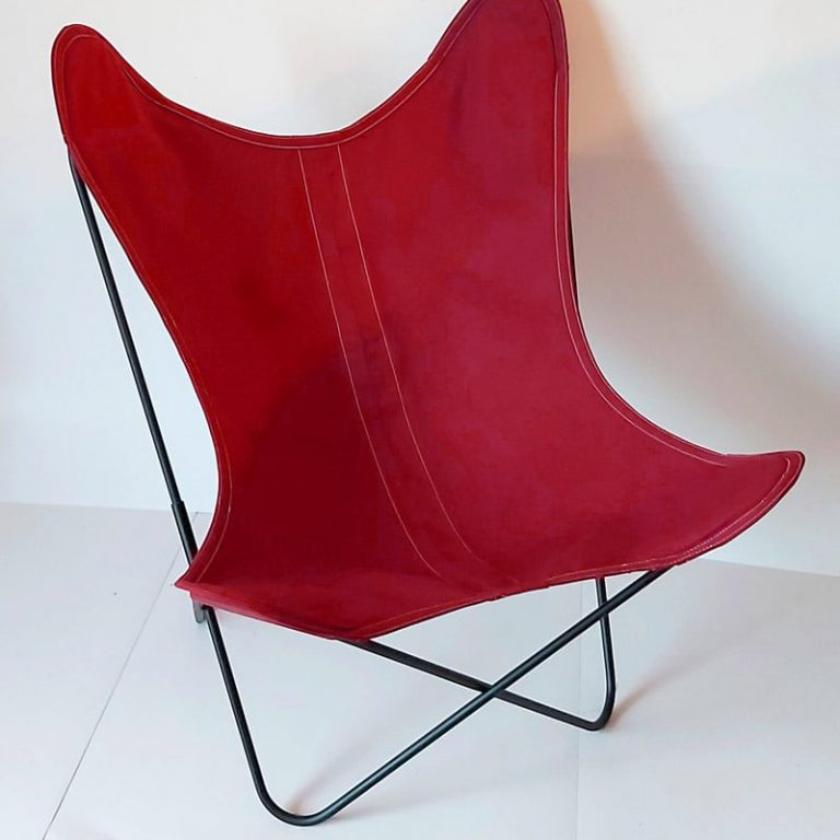 Fauteuil AA Butterfly toile framboise